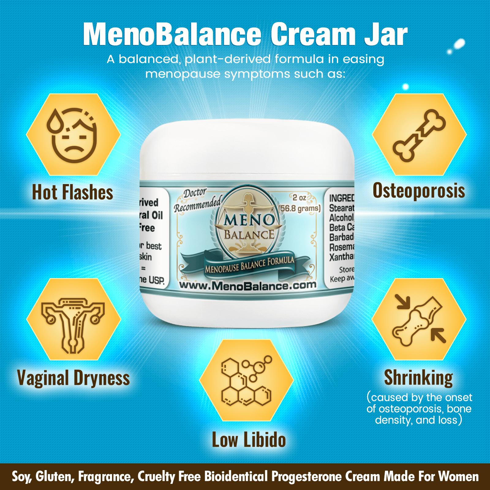 MenoBalance Cream 2oz Jar Best Progesterone Cream for Menopause WFP Infographic